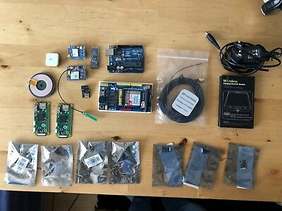 Lot of microcontrollers and hats (ESP8266, Arduino, Raspberry Pi Zero)