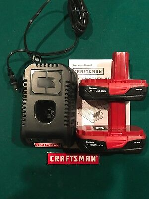New Craftsman C3 19.2 Volt Lithium-Ion Battery Charger 5336 + (2) 5166 Batteries