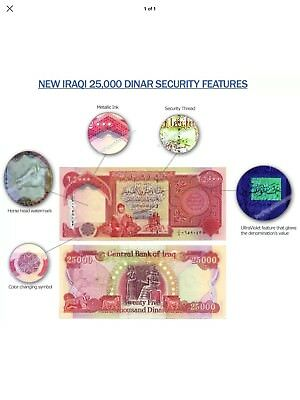50,000 Iraqi Dinar (2) 25,000 Notes Uncirculated  Authentic! Iqd