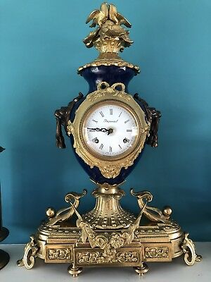 Antique French Clock Blue Gold With Birds And Lion