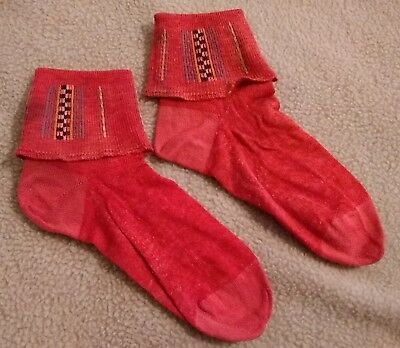 Antique pair of youth socks from the 50's, Red with Design