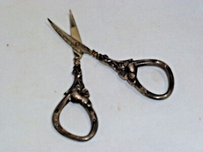 Antique Sterling Silver Sewing Embroidery Scissors Victorian Floral 4""
