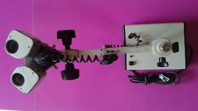 Microscope with boom arm and Prior Scientific P0240 light source FREE SHIPPING