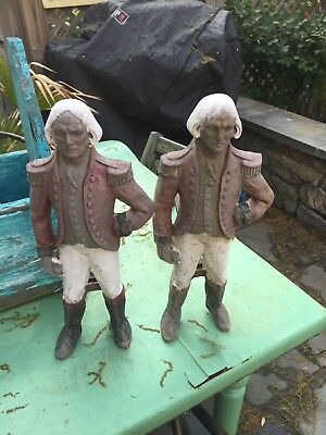 VINTAGE CAST IRON Howes George Washington Soldier Fireplace Andirons Firedogs