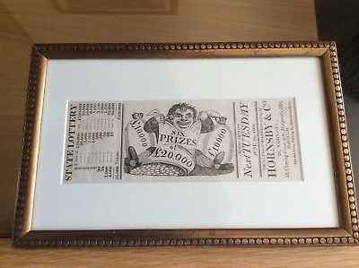 A Framed Early 19th Century State Lottery Ticket