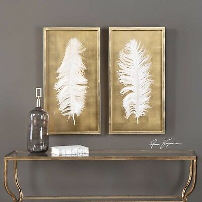 "Two Large 34"" Gold Leaf Shadow Box Huge Feather Under Glass Modern Wall Art"