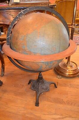 Vintage World Globe on a Wood and Brass Stand