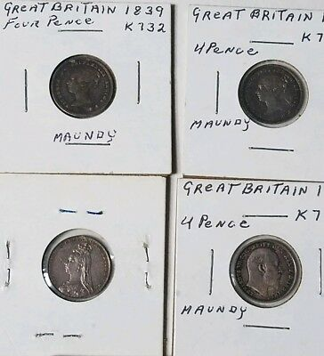 Lot of 4 Great Britain Silver Maundy 4 Pence 1839, 1856, 1889, 1902. No reserve