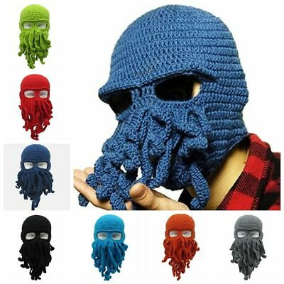 86c07a596 WOOL KNIT MOUSTACHE Tentacle Squid Octopus Caps Beanie Hat Cosplay Ski Masks