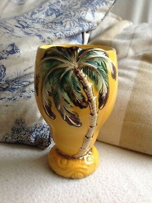 rare glossy yellow palm tree beswick vase deco kitsch vintage antique