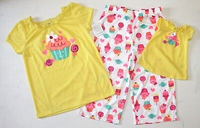 Girl 6X and Doll Matching Cupcake Pajamas Outfit fit American Girls Dollie Me
