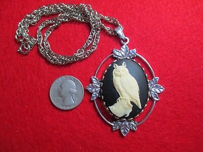 """Owl, Bird Pendant Necklace, New, Handmade, 18"""" Vintage Silver Plated Chain, USA"""