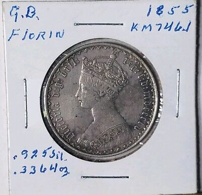 1855 Florin Great Britain Silver coin, Km 746.1 No Reserve