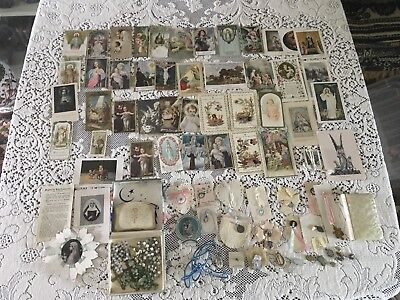 Great Lot Of Vintage 1920's-1950's(?)Catholic Prayer Cards, Rosary, Medals ++