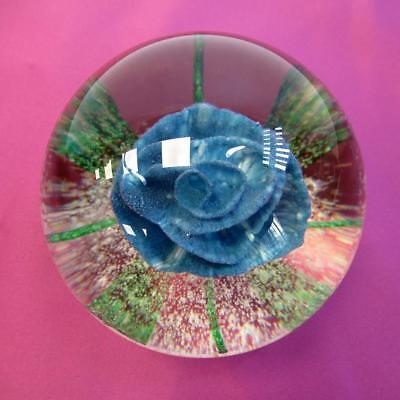 Beautiful Blown Glass Paperweight with Stunning Blue Rose with Green Leaves 8cm