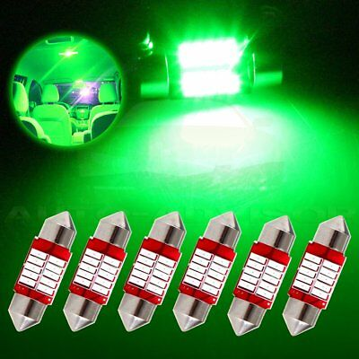 6x 31mm Festoon Car SMD LED Interior Dome/Map/License Bulb lights Lamp Green 12V