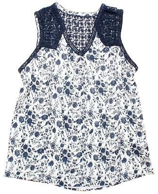 Womens Tunic Crochet Shoulder Blossom Posy Vest Top Ladies Teens Sizes 10 to 20
