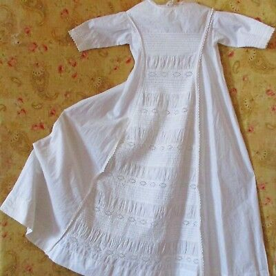Earlier 1900's Christening Gown Ruched Panels Eyelet Embroidered Lace