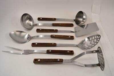 Lot of 7 Vintage Wood Handled Riveted Stainless Steel Kitchen Utensils - #R03-01