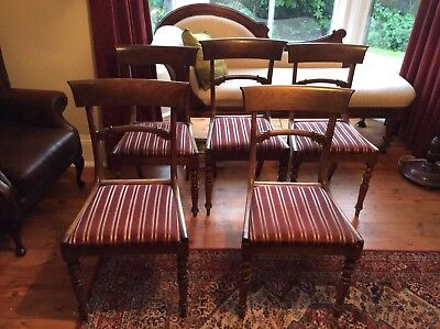 Set of 5 attractive antique late Victorian / early Edwardian dining chairs
