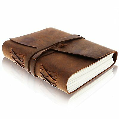 LEATHER JOURNAL Writing Notebook - Antique Handmade Leather Bound Daily