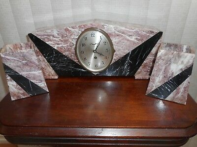 Classic Art Deco Mantel  Marble Clock Set With Matching Garnitures