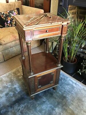 ANTIQUE FRENCH MARBLE TOP POT CUPBOARD BRASS INLAY EMPIRE Repair Refurbishment