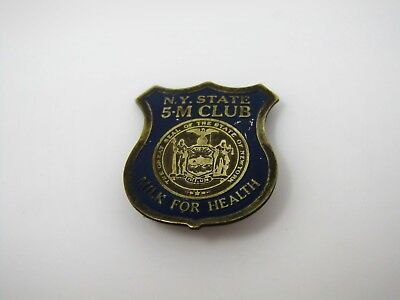 Vintage Collectible Pin: NY State 5M Club Milk for Health