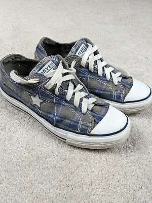 Converse Womens Size 5.5 One Star Blue Plaid Comfort Shoes Good Condition
