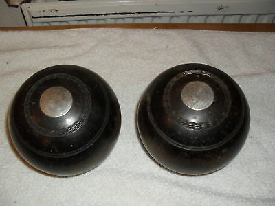 Pair of Vintage Brown Wooden Taylor No.3 Bias Bowls with Silver Inserts