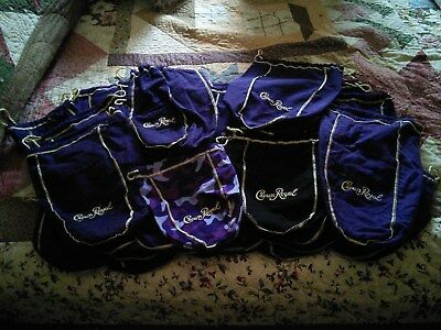 Crown Royal Bags lot of 1 Purple Camouflage, 1 Black, 4 Large and 30 Medium