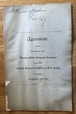 1890 Central Railroad of New Jersey Agreement with Western Union Telegraph Co !!