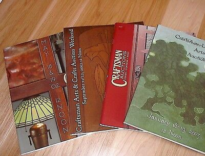 (4) Vintage Craftsman Arts & Crafts auction reference price catalogs 2002 2003