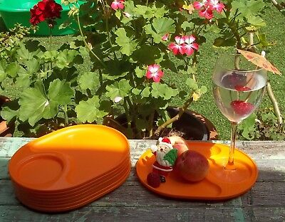 Retro Vintage Bright Orange Tupperware Picnic Party Plates Trays x 8 Campervan