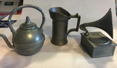 "Lit Of 3 English Pewter Figurines Teapot Grammophone Pitcher 2"" X 2"" Miniatures"