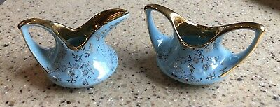 1940s Pearl China Co Blue Hand Decorated Floral 22K Gold Trim Cream & Sugar USA