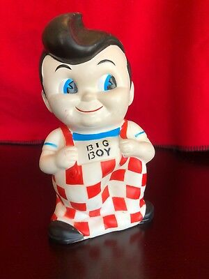 """Vintage Bob's Big Boy Coin Bank Plastic Rubberized 8"""" With Stopper Piggy"""