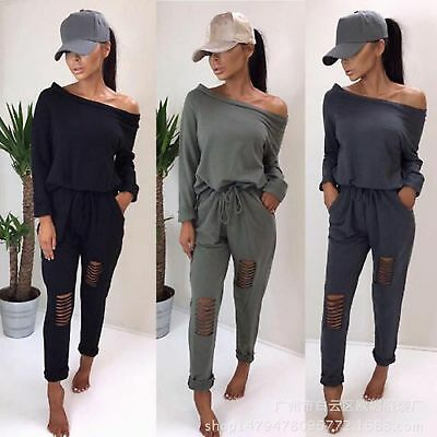 Womens Off Shoulder Ripped Jumpsuit Ladies Evening Party Jumpsuit UK Size 6-16