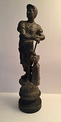 ANTIQUE WHITE METAL SPELTER STATUE Figure BLACKSMITH with ANVIL & HAMMER