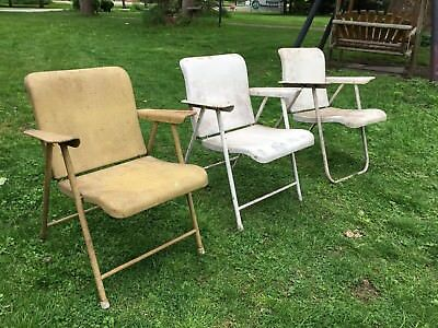 Mid Century Metal Folding Chairs Attributed to Russel Wright Sampson Set of 3