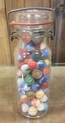 Vintage Lot of Antique Handmade Marbles in Wheaton Jar Estate found unopened