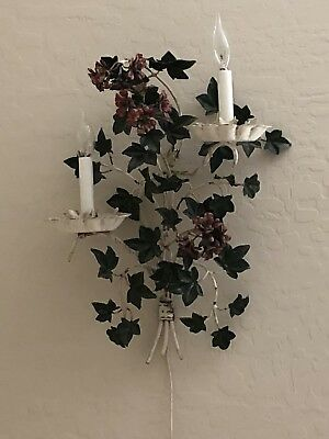 Shabby Cottage Chic Vintage Tole Electric Wall Sconce
