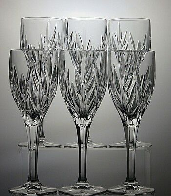 "Galway Irish Crystal ""clifden""cut Glass Wine Goblets/glasses Set Of 6 With Boxed"