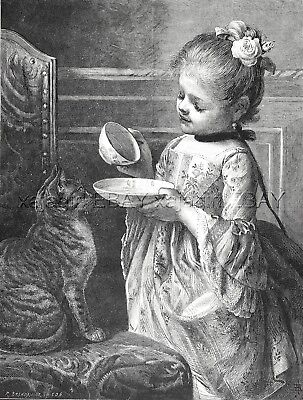 Cat Tabby Waiting for Milk Meal from Beautiful Girl, Large 1880s Antique Print