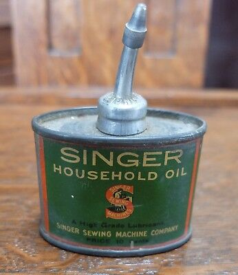 Vintage Singer Sewing Household Oil 1 1/3 ounce Oil Can 10 cents Made in USA