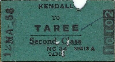 Railway tickets a trip from Kendall to Taree by the old NSWGR in 1958
