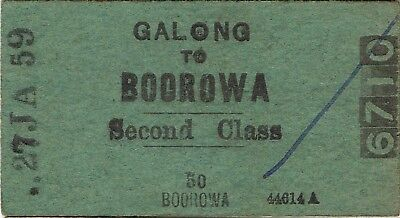Railway tickets a trip from Galong to Boorowa by the old NSWGR in 1959