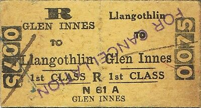 Railway tickets a trip from Llangothlin to Glen Innes by the old NSWGR