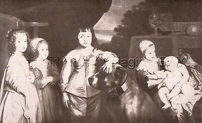 DOG Mastiff with H. M. King Charles I, Beautiful 1930s Color Linen Print