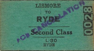 Railway tickets a trip from Lismore to Ryde by the old NSWGR